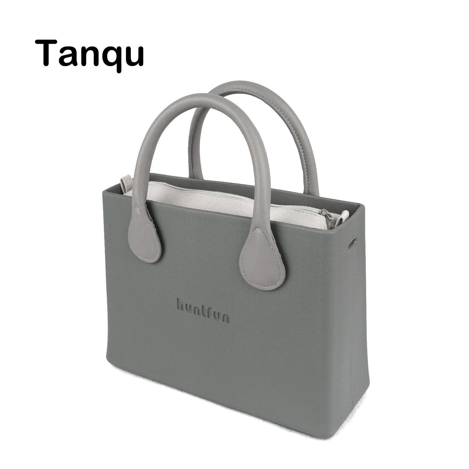 Tanqu huntfun Rubber Silicon EVA Square Bag Solid Canvas Insert Colorful Leather Handle Waterproof O Bag Style Women O Handbag tanqu tela insert lining for o chic ochic colorful canvas inner pocket waterproof inner pocket for obag