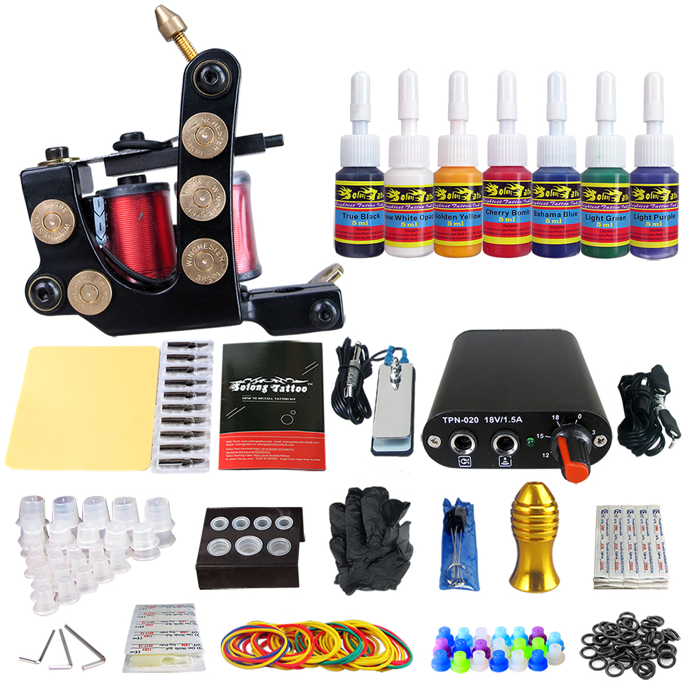 Tattoo New Beginner 1 Pro Machine Gun Tattoo Kit Power Supply Needle Grips tip 7 color ink set TK105-51 new tattoo machines gun equipment power supply 20 color ink cup tattoo set brand new