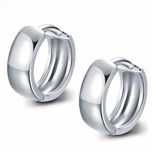 Genuine 925 Sterling Silver Jewelry Elegant Accessories Women Fashion Lady Silver Hoop Earrings Gift czcity brand elegant petal delicate women 925 sterling silver stud earrings for women genuine silver jewelry gift