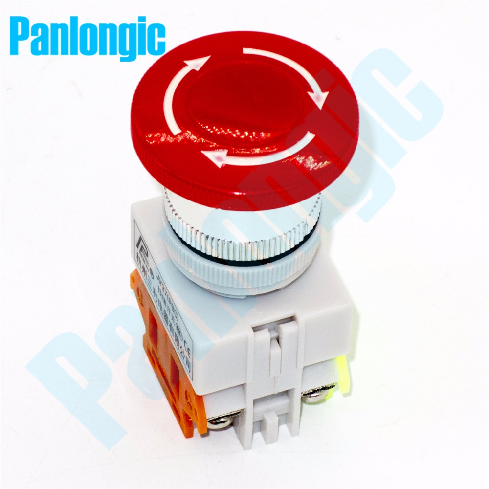 2PCS Emergency Stop Switch Push Button Switch Mushroom Pushbutton Switches NO/NC Auto Lock