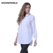 Showersmile бренд негабаритных Блузка для женщин; Большие размеры Костюмы белый свободную рубашку большой Для женщин хлопковая рубашка с длинными рукавами в синюю полоску