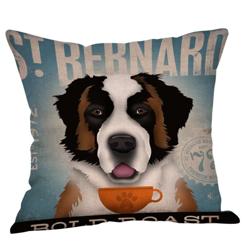 Home Decor Vintage Dog Poster Lovely Dachshund Chihuahua Poweranian Art Home Decorative Pillow Cases Cotton Linen Sofa Chair Cushion Cover