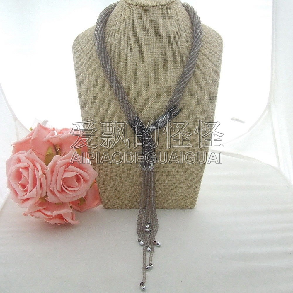 цена N041701 22'' 8 Strands Round Grey Crystal Necklace CZ Connector