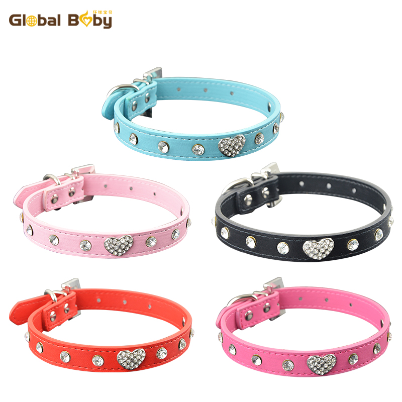 50 Pieces Lot Pu Leather Pet Dog Puppy Products Collar with Diamond and Love Charm