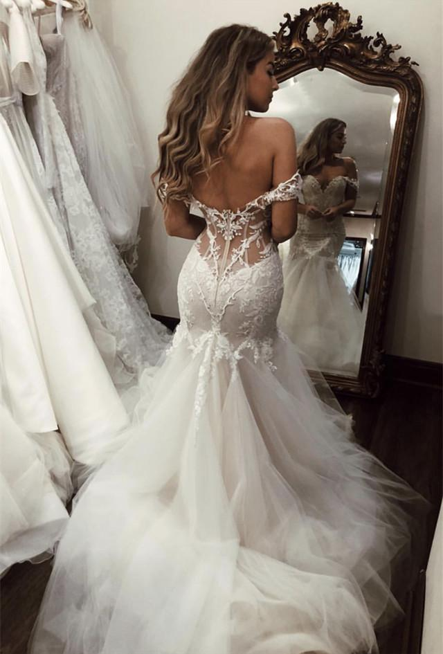 Sexy Unique Lace Mermaid Wedding Dresses 2019 Deep V-neck Off The Shoulder Wedding Gowns See Thru Bridal Gowns Robe De Mariee