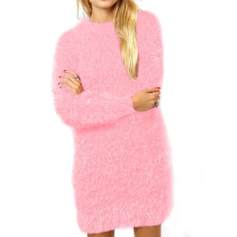 Sweater Dress Winter Women 2017 Autumn Long Sleeve Christmas Dress Mohair Bodycon Bandage Knitted Pullover Sweater Dress