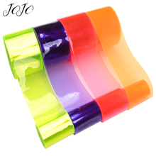 JOJO BOWS 38mm 5y Transparent PVC Ribbon For Crafts Solid Crystal Sheets Needlework DIY Hair Bows Party Decor Home Textile