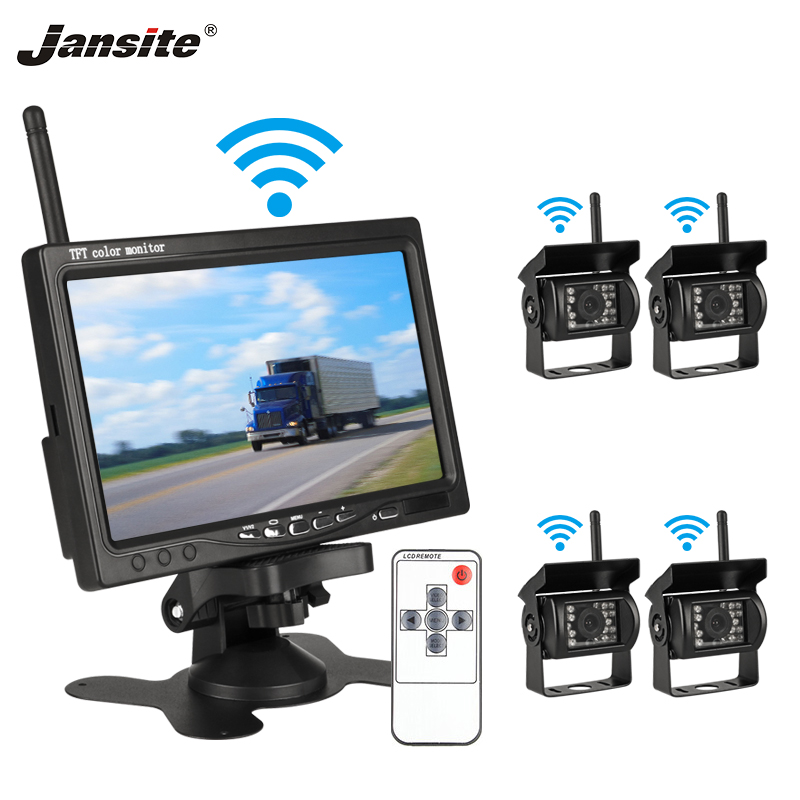 Jansite 7 Wireless Car monitor TFT LCD Four Car Rear cameras Monitor Parking Rearview System for
