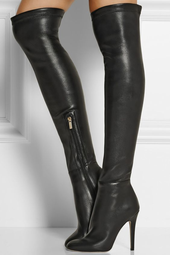 Women Chic Black Leather Stiletto Heels Thigh High Boots European Stylish Sexy Zipper Boots Concise Design Dress Pumps Fall Boot ...