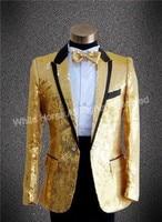 2015 New Arrival Mens Sequin Tuxedo Gold Jakcet Men Stage Costumes Slim Fit Party Suits Men