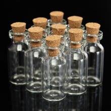 Frascos de vidro transparentes bonitos, mini frascos de vidro de cortiça vazios, recipiente para artesanato diy, 1 peça presente 16x35mm