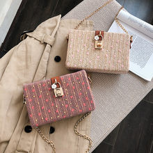 New Women Beach Heart-shaped Sequins Straw Bag Burlap Square Bag Beach Messenger Bag Famous Brand Borsa a tracolla da donna#30(China)