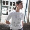 Harajuku camisa 2017 plus size coreano t-shirt mulheres novo kawaii estilo verão t-shirt dos homens t shirt amantes das mulheres dedo