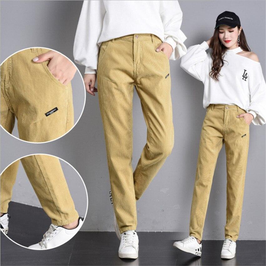 MLCRIYG otoño nueva versión coreana casuales de pana mujeres Haren pantalones de ocio