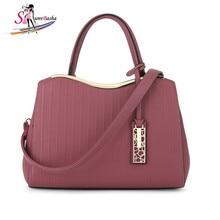 2017 new PU leather ladies handbag bent bag mouth pendant bags wild light fashion casual single piece Crossbody bag six color