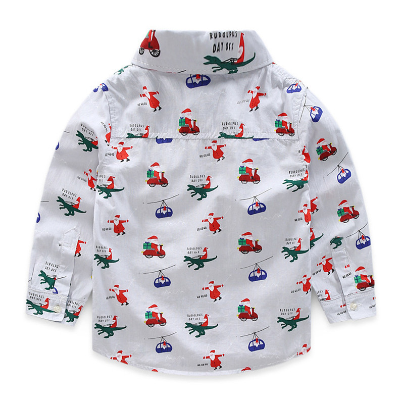 2017 Baby Boys Shirts 100% Cotton Boy Shirt Long Sleeve School Shirts For Boys Children's Santa Print Shirt splatter paint dot print long sleeve shirt