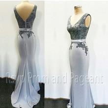 Real Sample Long Mermaid Evening Dresses V-neck Beaded Applique Floor Length Strecth Satin Silver Formal Evening Gowns