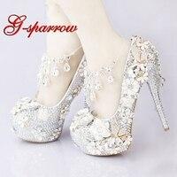 Роскошный серебристыми стразами свадебные туфли кристалл лодыжки ремни юбилей вечерние туфли на высоком каблуке ручной работы 5 дюйм(ов) на