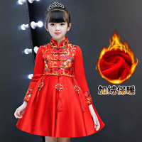 Tang Clothing Girls Dresses Winter 2018 new children Chinese style cheongsam dress fleece children's China kids wedding dresses