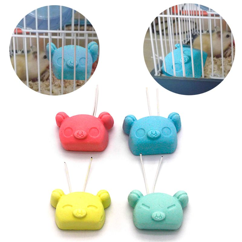 Calcium Stone Small Pets Teeth Grinding Toys Pig Shape Wire Hanging Cage Chew Oral Care Hamster Chinchilla Guinea Pig Rabbit