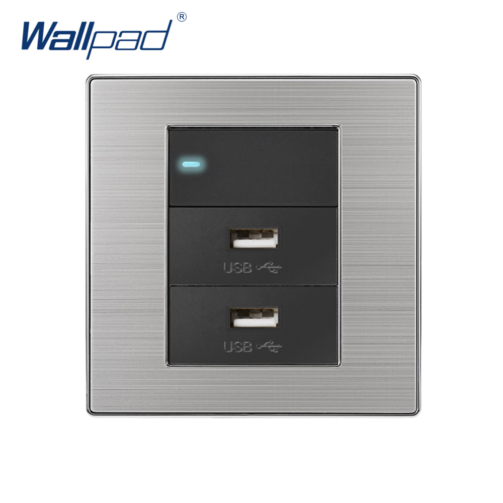 2019 Wallpad 1 Gang 2 Way With 2 USB Charger 5V 1000mA Wall Power Charger Stainless Steel Satin Metal Panel With LED Indicator