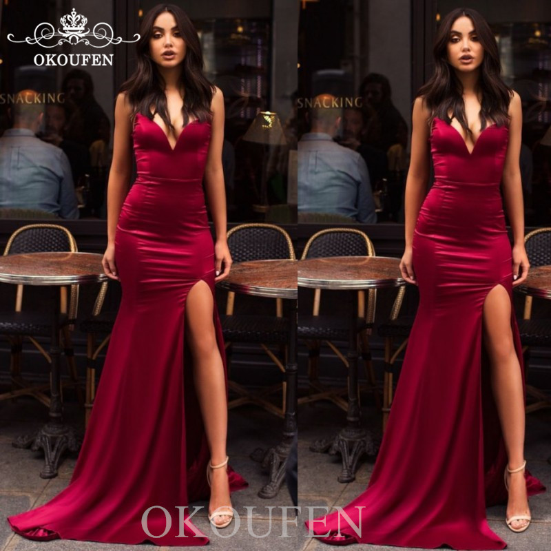2019 Burgundy Mermaid   Prom     Dresses   Sexy Side Split Sweetheart Neck Under 100 Long Formal Evening   Dress   Party For Women