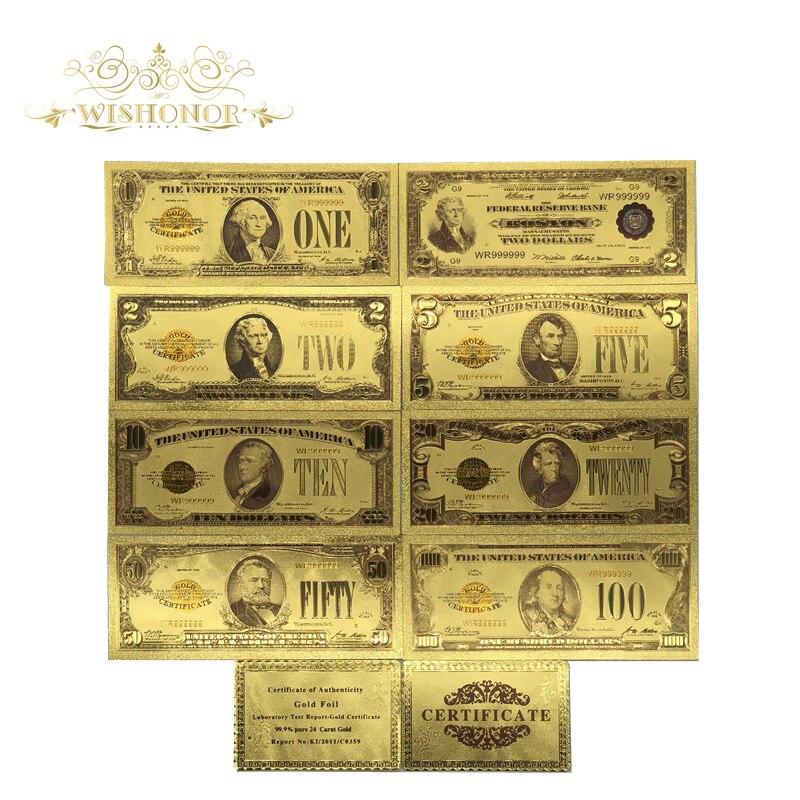 9 шт./лот, американский Набор цветных золотых банкнот для купюр, 1, 2, 5, 10, 20, 50, 100 долларов США, поддельные бумажные купюры для сувениров и подарков