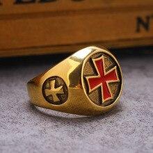 Ретро Красный Эмаль крест щит кольцо золото Цвет Винтаж для мужчин серебряные кольца на палец Assassins ювелирные изделия Рыцари кольцо тамплиера