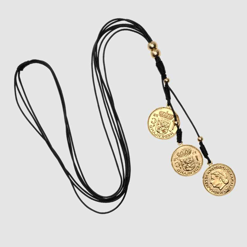 Amorita boutique Fashion design coins sweater chain necklace