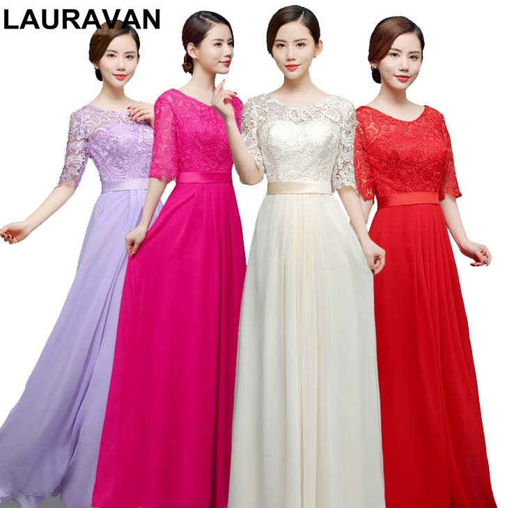 Red Fuchsia Lavender Colored Modest Chiffon Elegant Mother Of The Bride Half Sleeve Lace Dresses Bridal Gown Party Dress