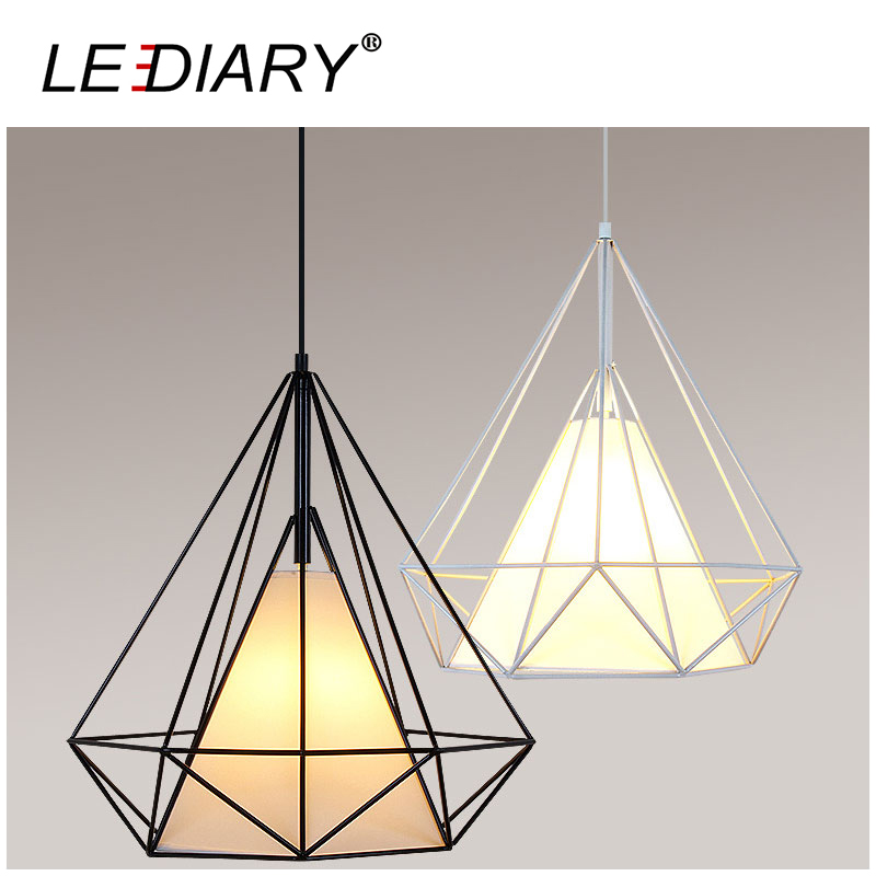 ФОТО LEDIARY E27 Birdcage Pendant Light Scandinavian Minimalist Pyramid Light Iron Light Wrought Iron Hanging Lamp Bulb Excluded