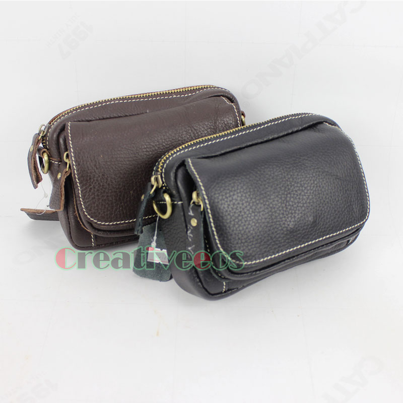New Men Genuine Leather Vintage Travel Cross Shoulder Messenger Cell/Mobile Phone Hip Belt Bum Purse Pack Waist Bag Pouch купить