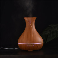 OUTAD 400ml Aroma Essential Oil Diffuser Ultrasonic Air Humidifier With Wood Grain 7 Color Changing LED