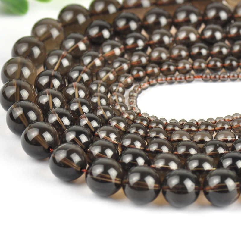 4 milímetros 6mm 8mm 10mm 12mm picareta tamanho natural pedra contas Redondas Soltas Suave esfumaçado marrom pedra de quartzo Beads Para DIY Colar Pulseira