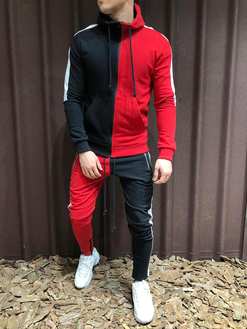 WENYUJH NEW Autumn 2PCS Tracksuits Men Casual Patchwork Sportwear Set Hoodies Sweatshirt Sweatpants Mens Joggers Hoody Suits 3XL