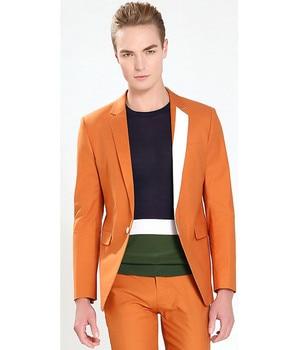 Custom Made Orange Men Suit Slim Fit Tuxedo Skinny 2 Piece Gentle Groom Prom Suits Wedding Suits For Men (Jacket+Pant)