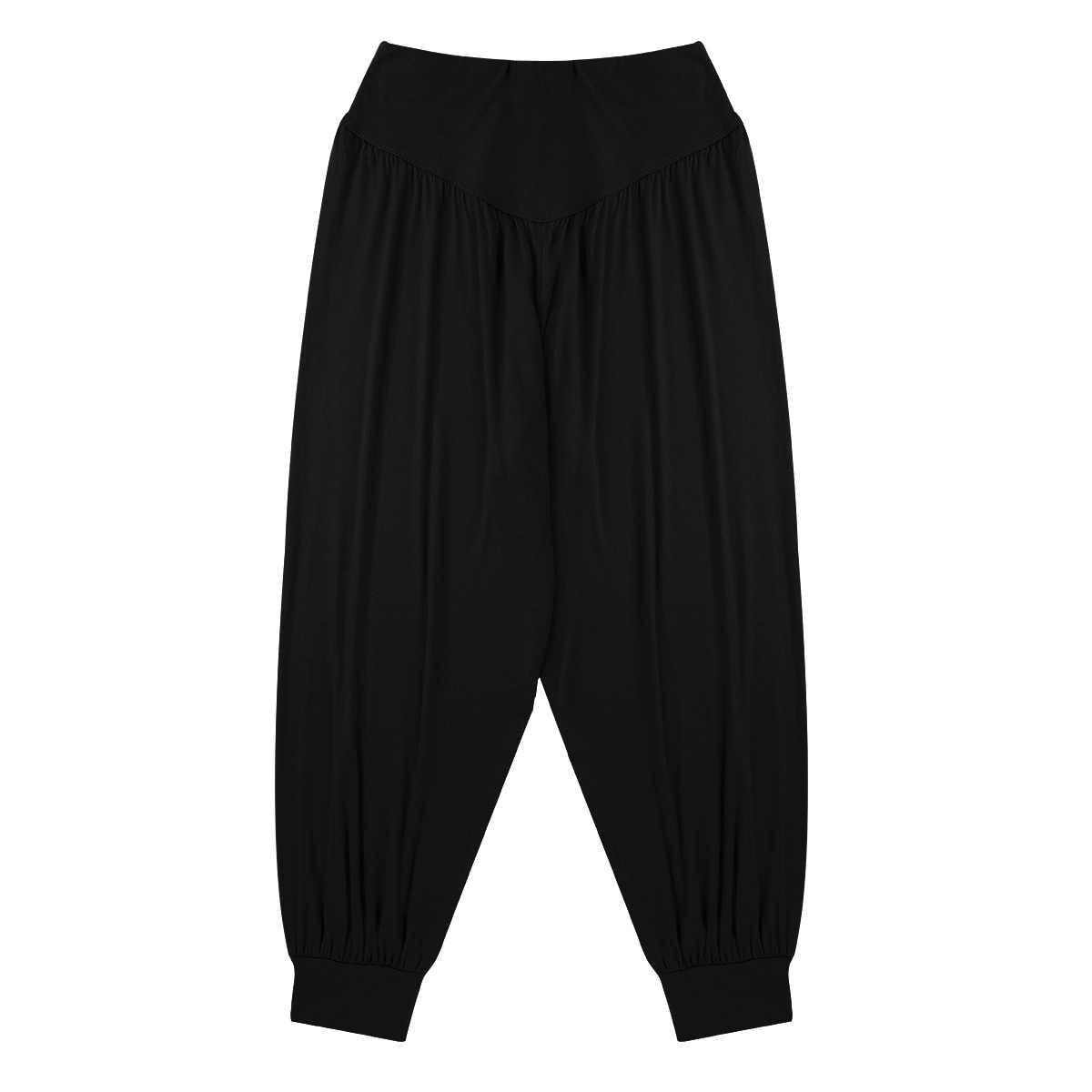 TiaoBug mujeres Super suave cintura alta elástico cintura pierna ancha Casual suelta deportes calle baile Harem pantalones Jazz danza traje
