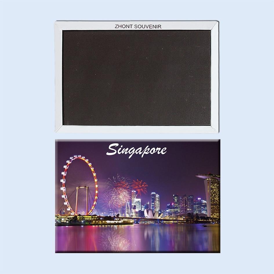 <font><b>The</b></font> <font><b>ferris</b></font> wheel at <font><b>night</b></font> Singapore 22606 Landscape Magnetic refrigerator gifts for friends Travel souvenirs