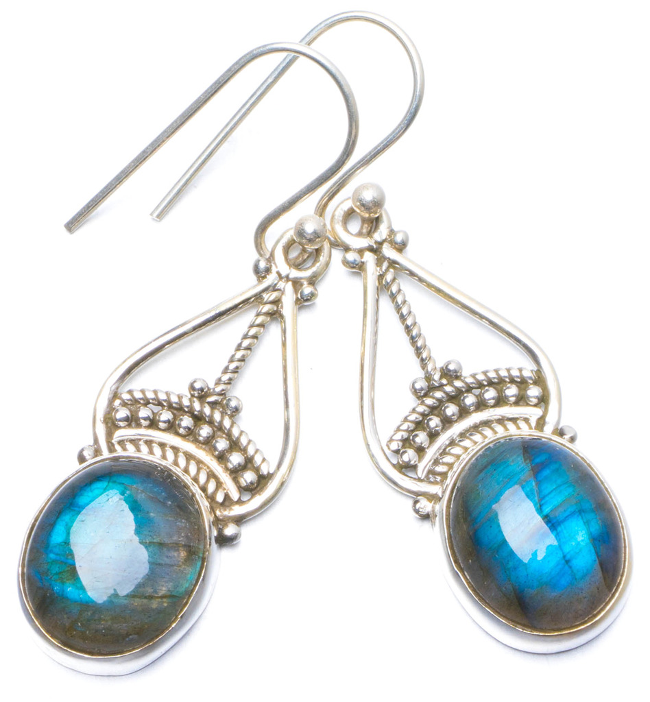 Natural Blue Fire Labradorite Handmade Unique 925 Sterling Silver Earrings 1.5 Y0592 natural blue fire labradorite handmade boho 925 sterling silver earrings 1 25 u0962