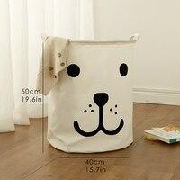 Xách tay Giặt giỏ đồ chơi túi lưu trữ lớn hộp Cotton Linen giặt quần áo giỏ ngủ gấu 40*50 đồ lặt vặt lưu tr