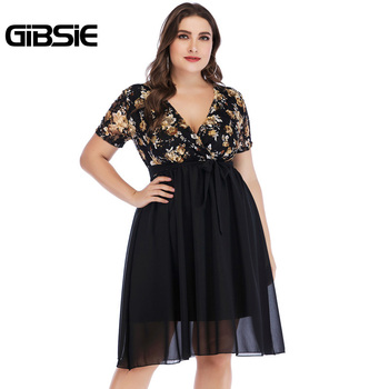 GIBSIE Wrap V Neck Short Sleeve Floral Print Chiffon Dress with Belt Summer Women Elegant Plus Size Knee Length Party Dress