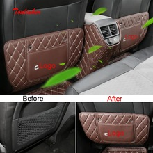 Tonlinker Interior Seat back Anti-dirty Cover Sticker for Citroen C5 Aircorss 2018-19 Car Styling 3 PCS PU Leather sticker