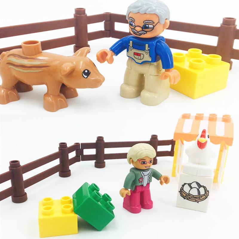 Single Sale Diy Blocks Bricks Kids Toys Fowl Farm Eggs Pigs Fence Toys Accessories Compatible With L Brand Duploe Parts