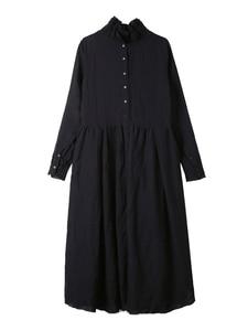 Image 5 - [EAM] 2020 New Spring  Winter Ruffled Collar Long Sleeve Black Irregular Big Hem Fold Loose Long Dress Women Fashion Tide JI098