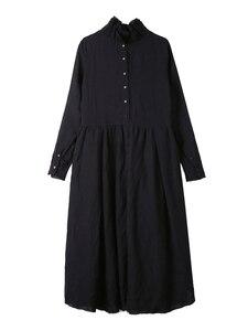 Image 5 - [EAM] 2020 nouveau printemps hiver col à volants à manches longues noir irrégulière grand ourlet pli ample longue robe femmes mode marée JI098