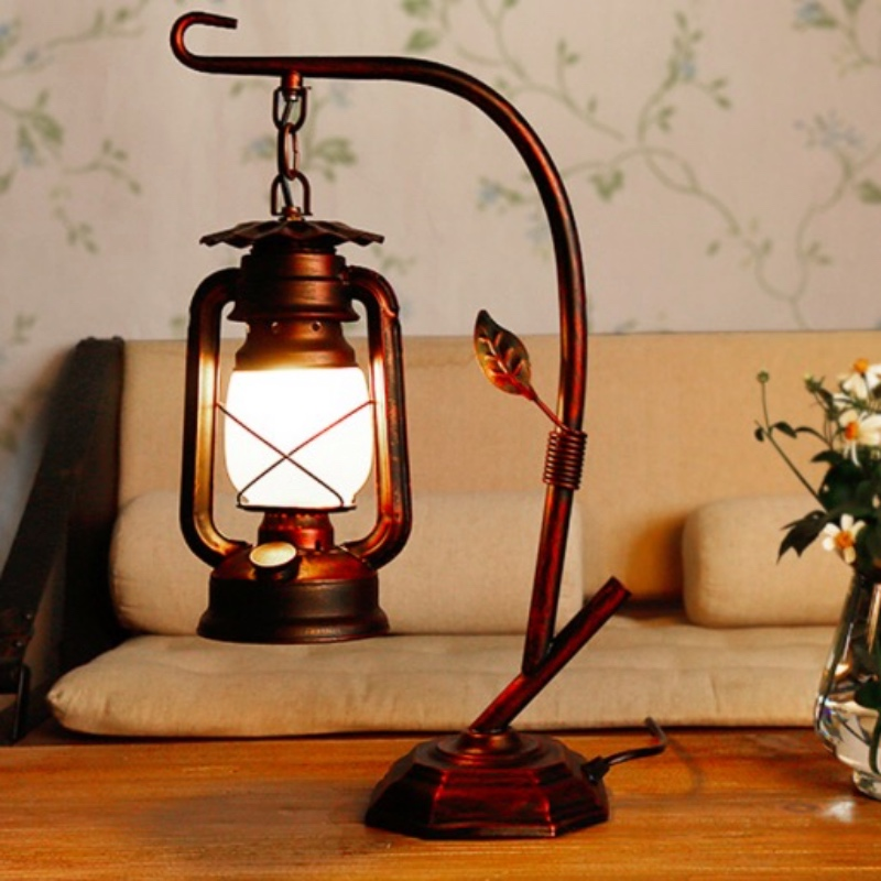 Vintage Exotic Cottage Lantern Lamp Iron Glass Led E27 Table Lamp for Living room Bar Re ...