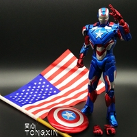 Iron Man 3 With US Flag War Machine Armored Action Doll MK42 MK6 Iron Patriot Action Figrue Toy Model Birthday Gift Decoration