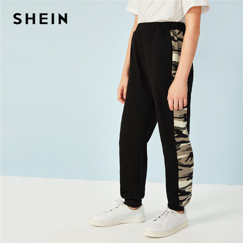 SHEIN Kiddie Black Camouflage Side Active Wear Boys Sweatpants Children Pants 2019 Summer Elastic Waist Colorblock Long Trousers contrast striped side sweatpants