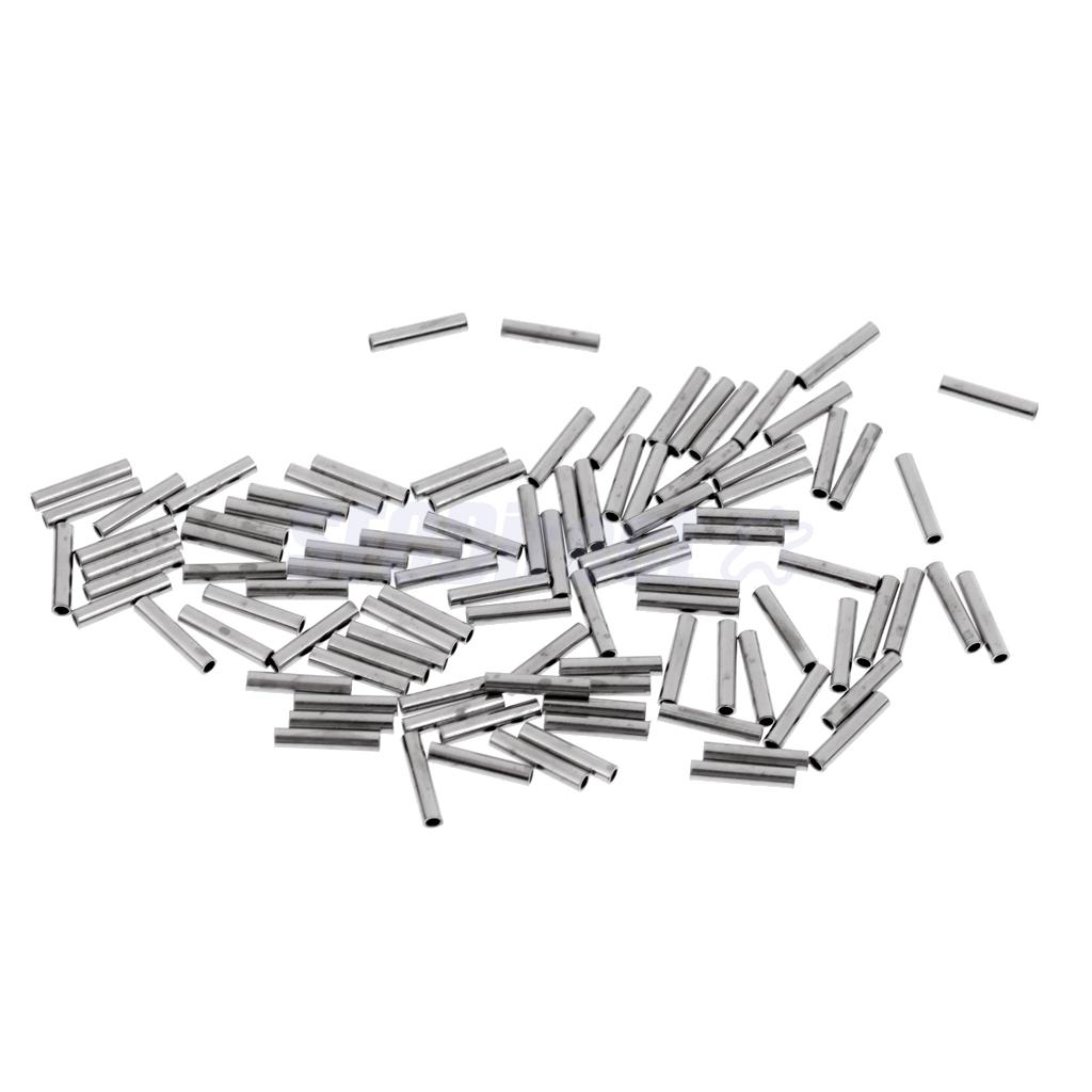 100 Pieces Single Barrel Crimp Sleeves 100 Copper Fishing Line Leader Rigging Tackle Wire