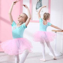 Ballet leotardo algodón Ballet vestido camisola Niñas Ropa de entrenamiento tutú Leotardos de gimnasia traje Bow conjunto para niño gasa